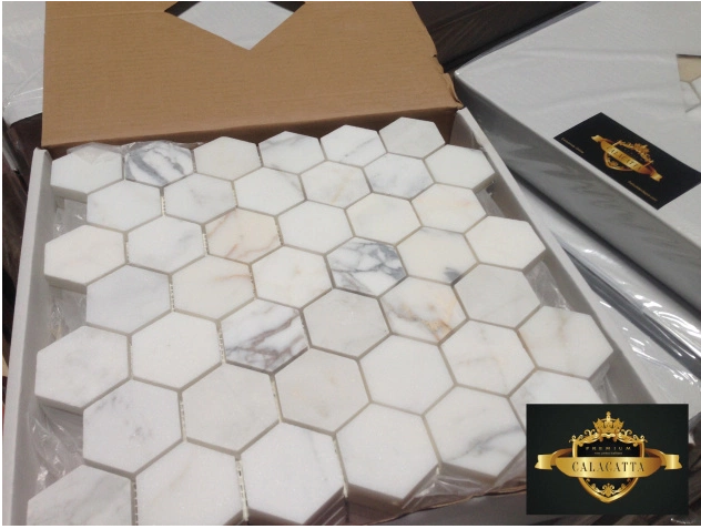 "Calacatta 2x2"" Hexagon Mosaic"