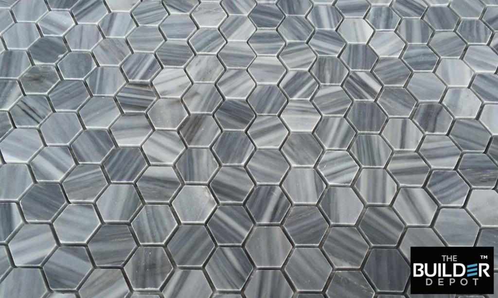 1x1 Hexagon Bardiglio Marble Mosaic Tile