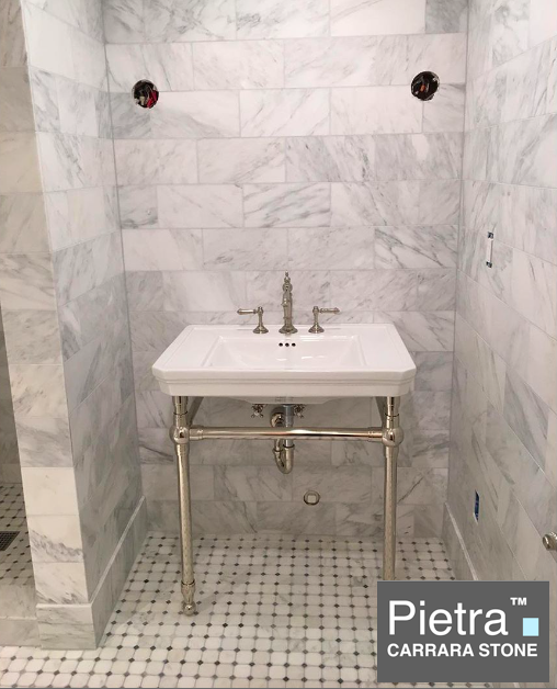 Pietra Carrara Bathroom with Gray dot Octagon