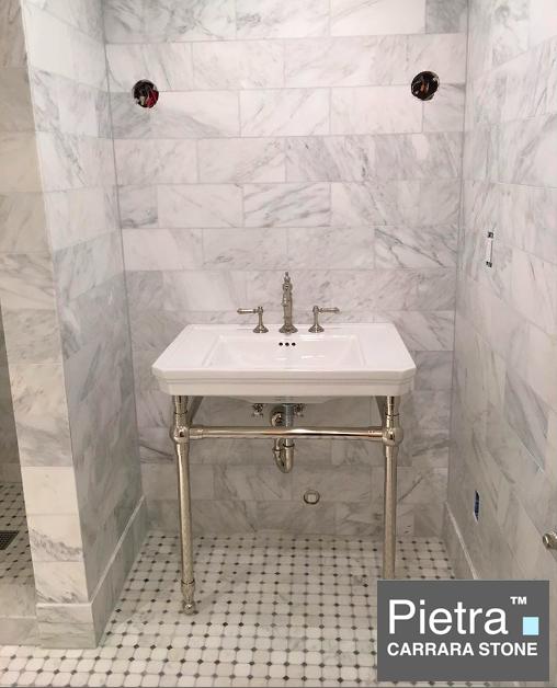 Pietra Carrara Bathroom with Gray dot Octagon