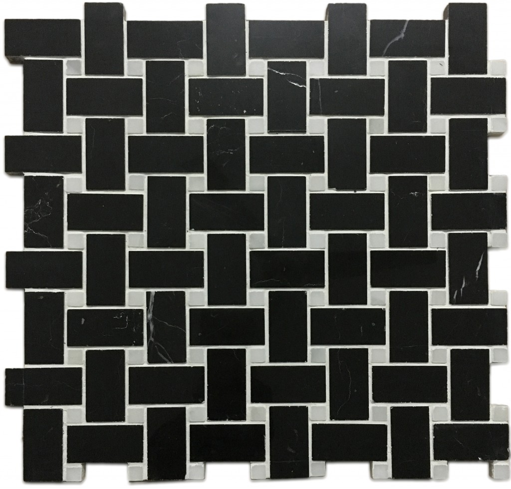 Basketweave Nero Black Marble White Dot