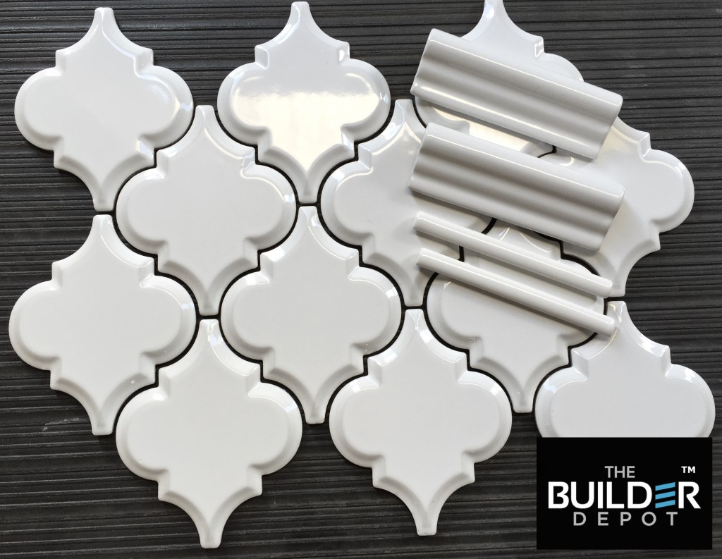 White Beveled Arabesque Tile
