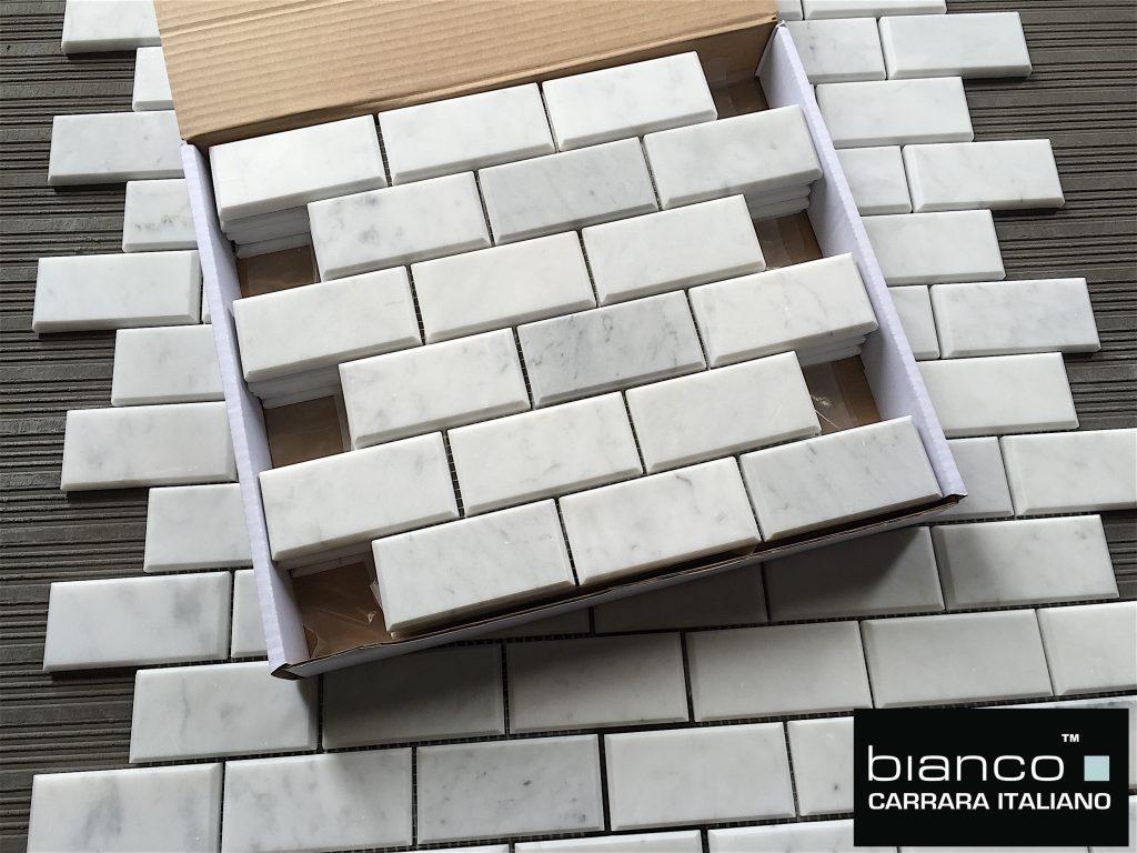 Bianco 2x4 Beveled Mosaic Tile