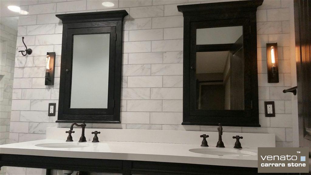 Carrara Venato 4x12 Backsplash for Bathroom