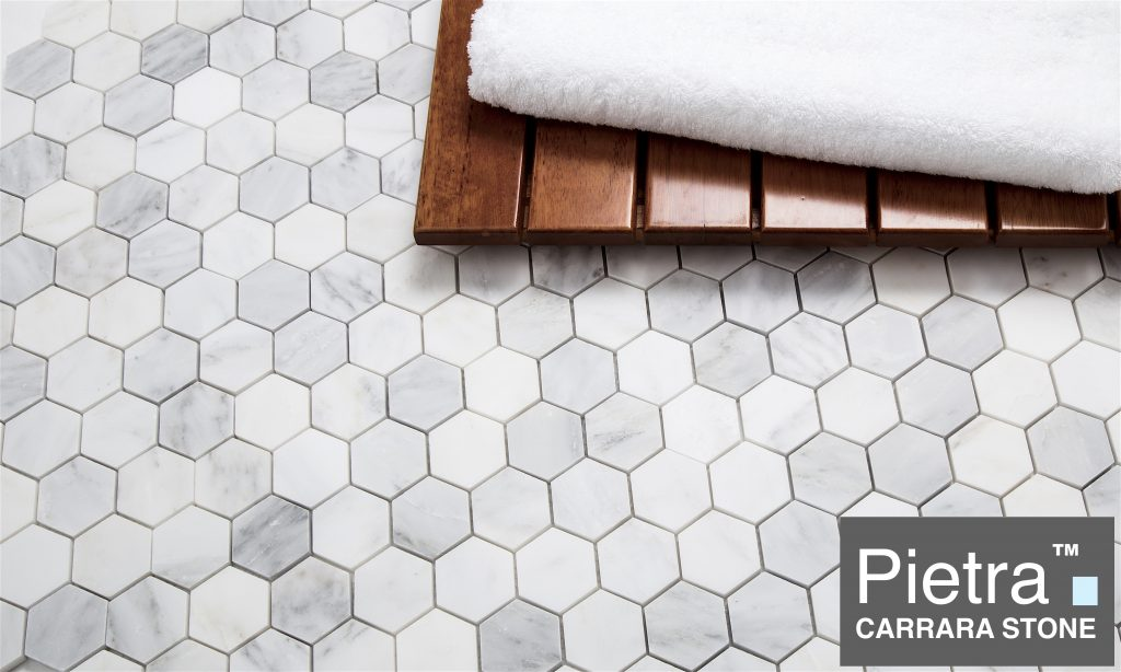 Pietra Carrara 2 inch hexagon Marble Mosaic Tile $8.95