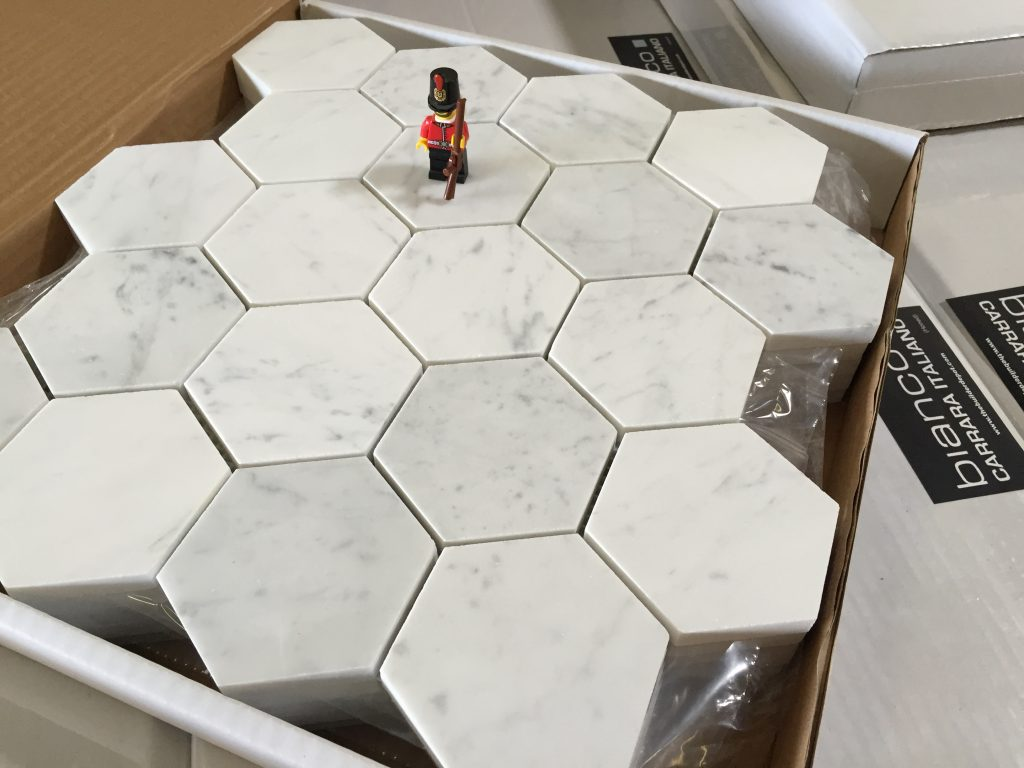 "Bianco 3"" Hexagon Honed"
