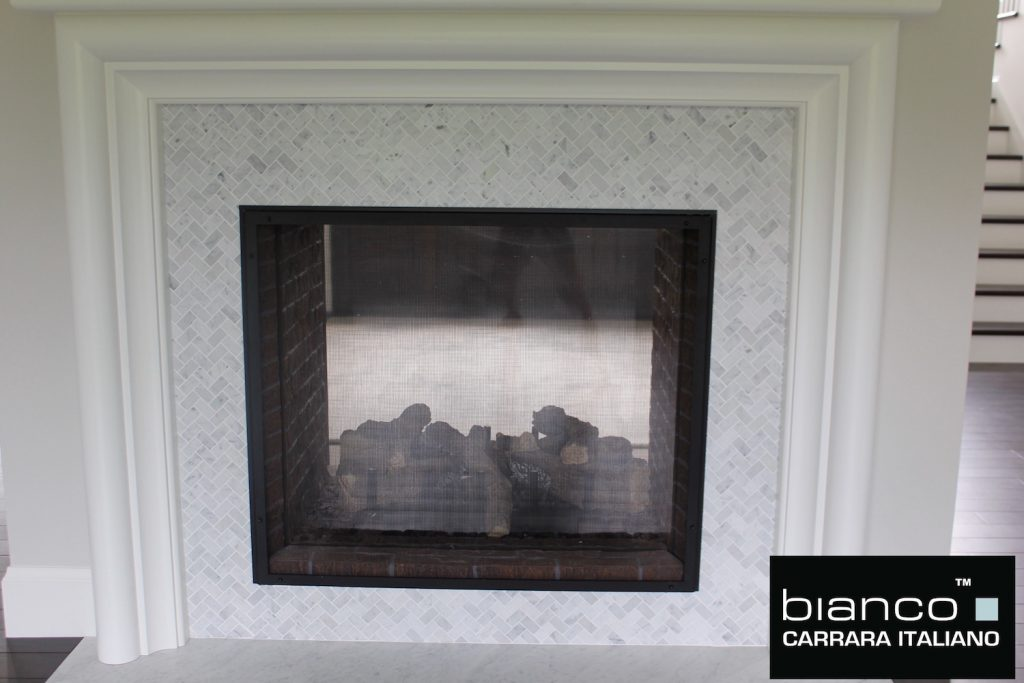 "Bianco Carrara 1x2"" Fireplace"