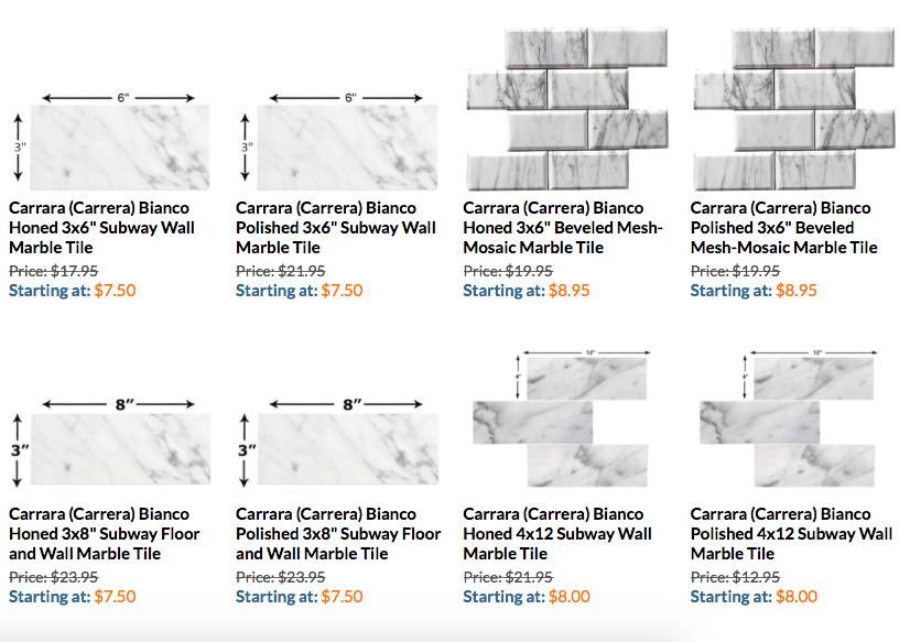 Carrara Subway Tiles