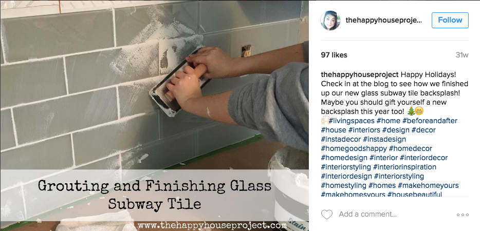 Grouting Glass Subway Tiles