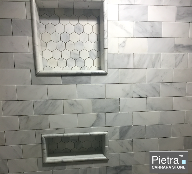 Carrara pietra installed