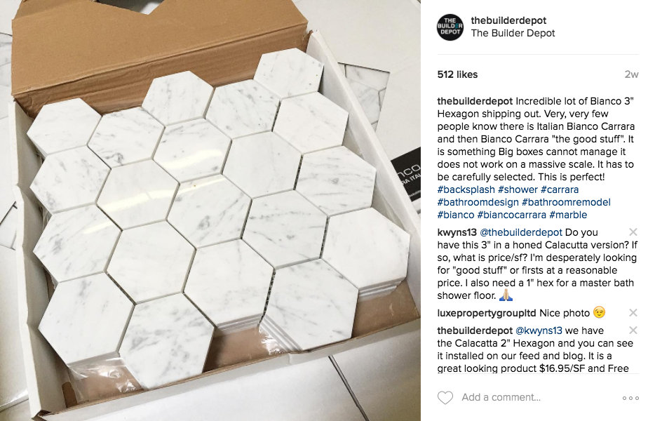 "Bianco Carrara 3"" Hexagon Mosaic"