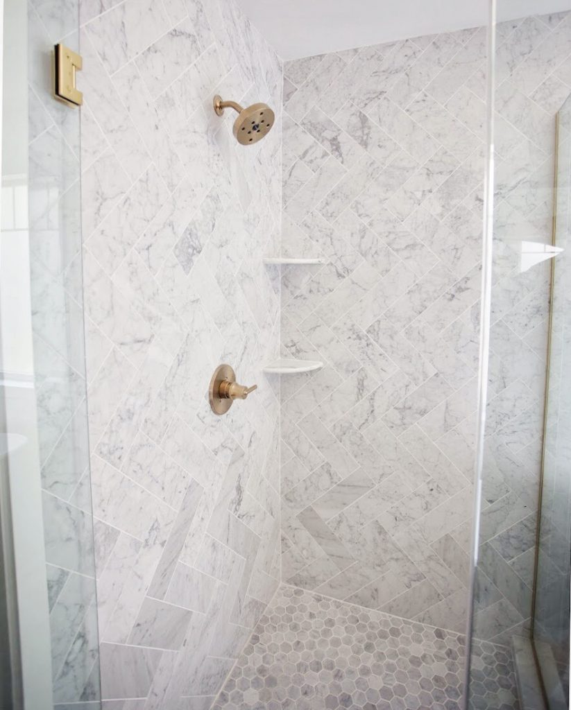 Carrara Bianco Herringbone Shower
