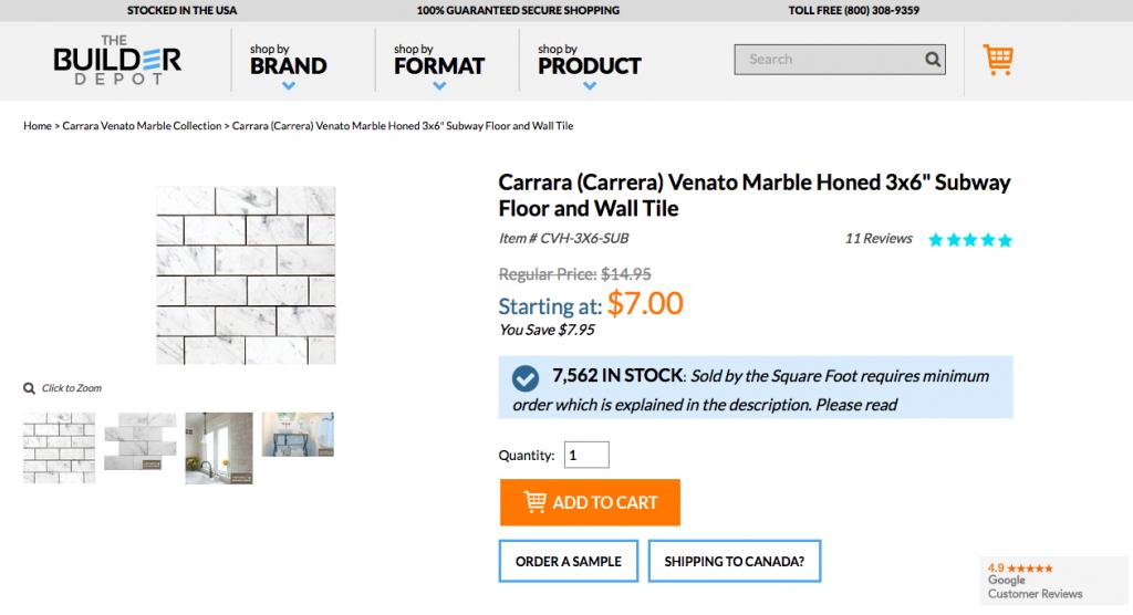 Venato 3x6 Marble Tile