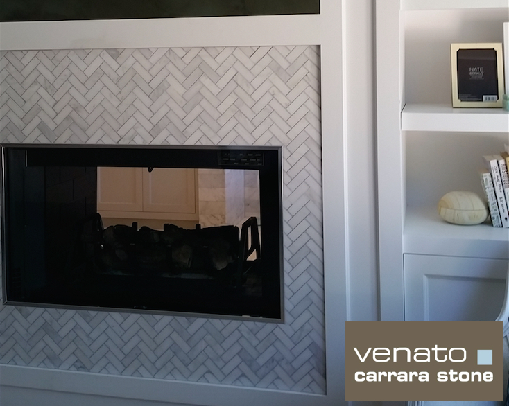 1x3 Herringbone Fireplace