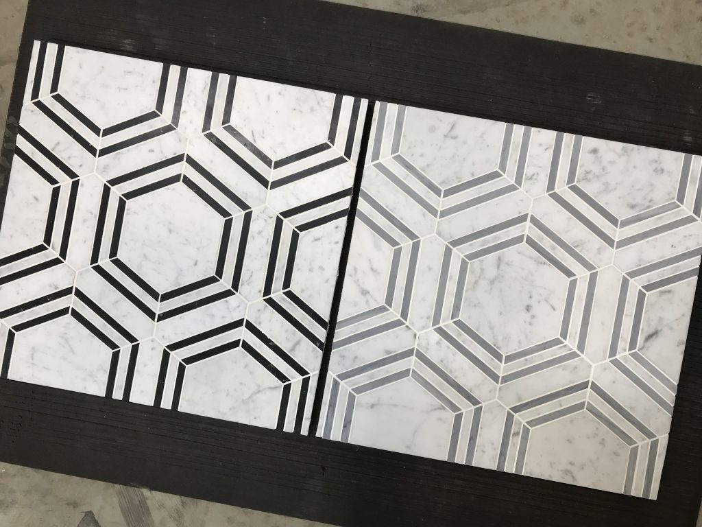 Hexagon Bardiglio and Nero Marquina