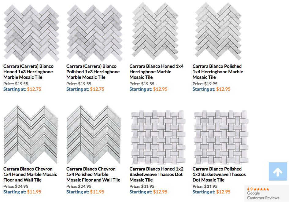 Bianco Herringbone Options
