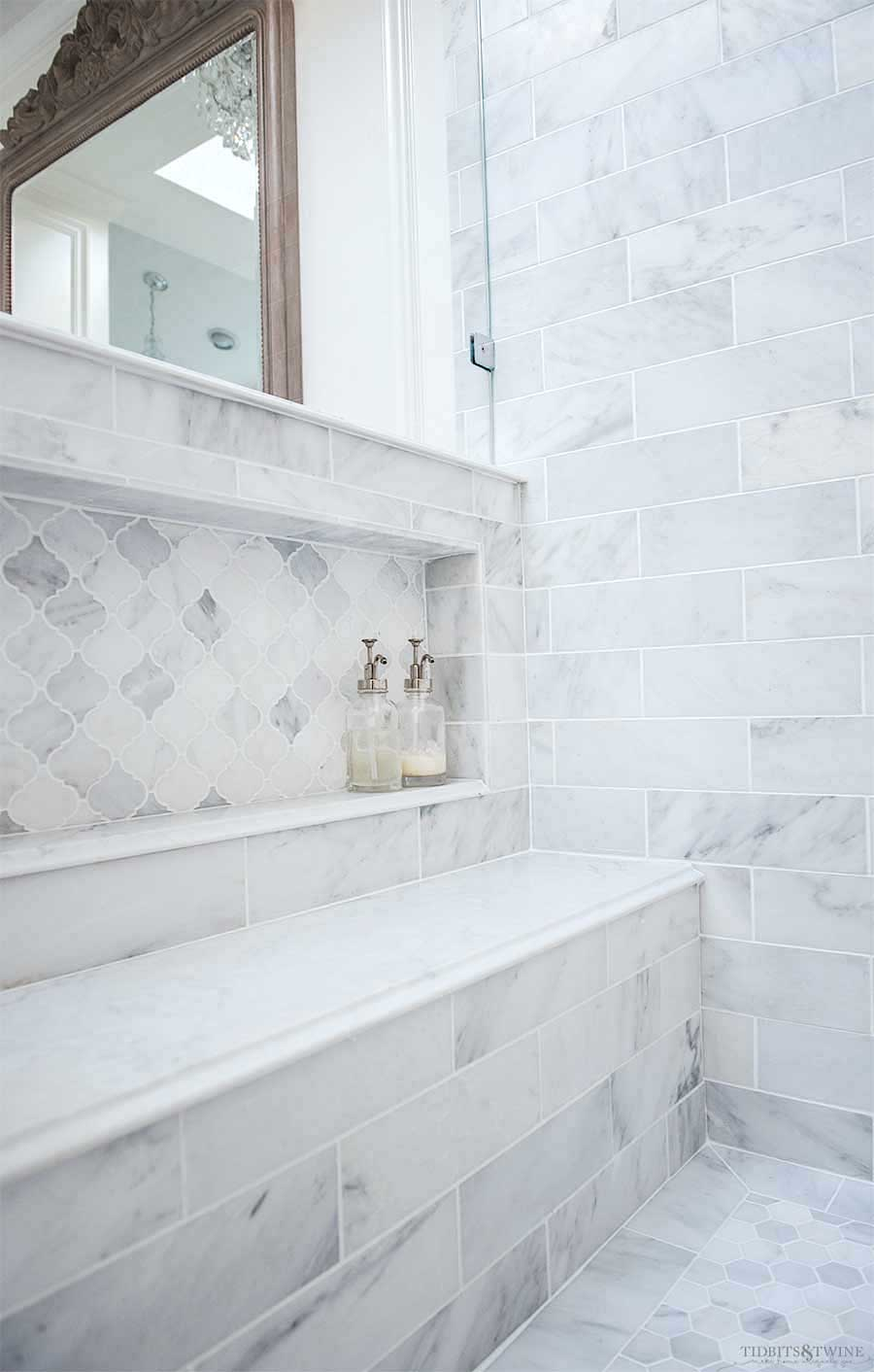 Carrara Marble Shower Niche-2
