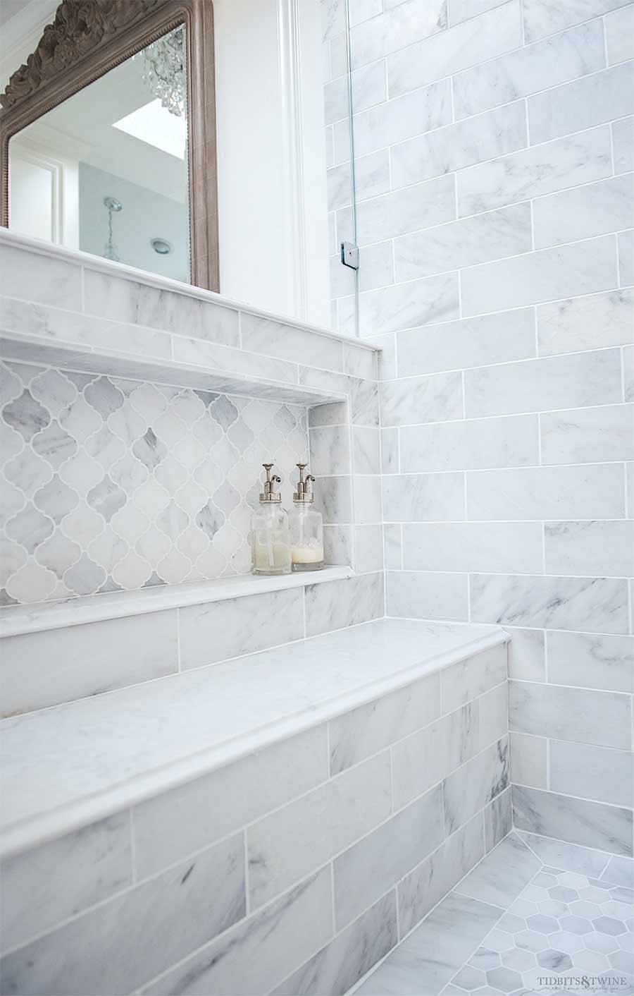 Carrara Marble Shower Niche-2